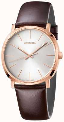 Calvin Klein メンズブラウンレザーストラップローズゴールド腕時計 K8Q316G6