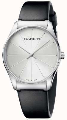 Calvin Klein レディースブラックレザーシルバーダイヤルウォッチ K4D211C6