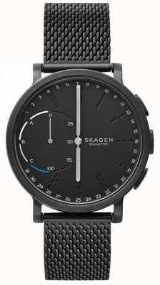 Skagen ハーゲンはスマートな腕時計ブラックメッシュブレスレットブラックダイヤルを接続 SKT1109