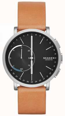 Skagen ハーゲンはスマートな腕時計ブラウンレザーストラップブラックダイヤルを接続 SKT1104