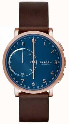 Skagen ハーゲンは、スマートな腕時計茶色の革のストラップブルーダイヤル SKT1103