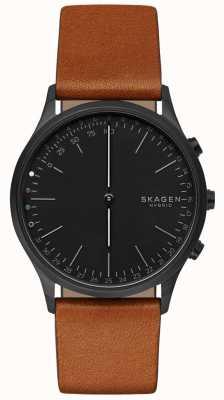 Skagen ジョーンはスマートな腕時計ブラウンレザーストラップブラックダイヤルを接続 SKT1202