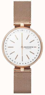 Skagen Signature接続のスマートな腕時計は、金メッシュの白いダイヤ SKT1404