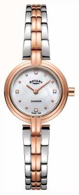 Rotary 女性のダイヤモンド2トーンゴールドのステンレススチール LB00412/41