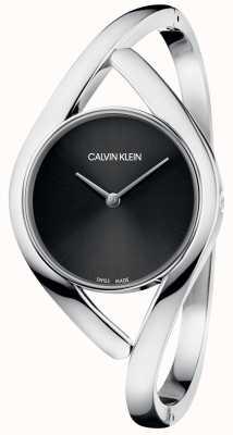 Calvin Klein パーティーシルバーステンレススチールブレスレットブラックダイヤル K8U2S111