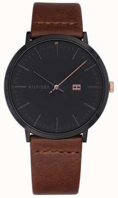 Tommy Hilfiger メンズジェームズの茶色の革のストラップダークグレーの時計を見る 1791461