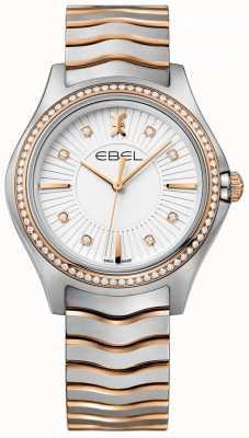 EBEL 女性のダイヤモンドは、ホワイトダイヤル2トーンのブレスレットを設定します。 1216319