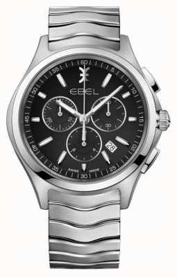 EBEL メンズクロノグラフブラックダイヤルステンレススティールシルバーケース 1216342