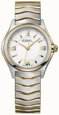 EBEL 女性のウェーブホワイトダイヤル2トーンゴールド&シルバーブレスレット 1216375