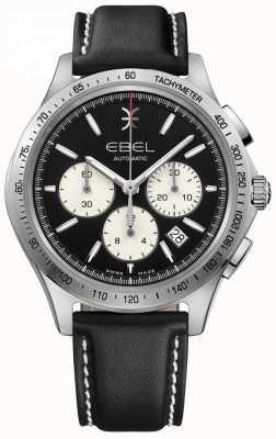 EBEL メンズオートマティックウェーブクロノグラフブラックダイヤルブラックレザー 1216404