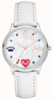 Juicy Couture 色付きのマーカーが付いている女性の白いシリコーンの革紐の腕時計 JC-1019WTWT