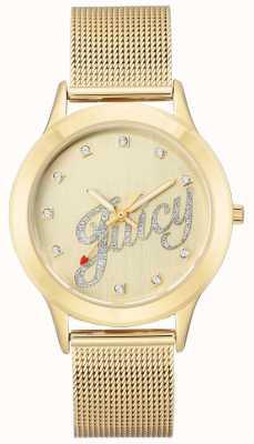 Juicy Couture レディースゴールドトーンメッシュブレスレットジューシーなスクリプトの腕時計 JC-1032CHGB