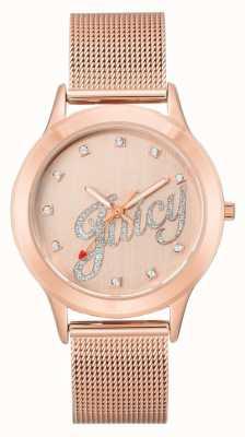 Juicy Couture レディースは、ゴールドトーンのメッシュブレスレットジューシーなスクリプトの時計をバラ JC-1032RGRG