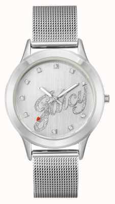 Juicy Couture レディースシルバートーンメッシュブレスレットジューシーなスクリプトの腕時計 JC-1033SVSV