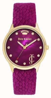 Juicy Couture レディースブルゴーニュダイヤル|ブルゴーニュベルベットストラップ|ゴールドトーンケース JC-1060HPHP