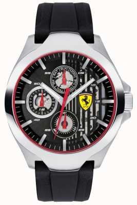 Scuderia Ferrari メンズブラッククロノグラフダイヤルブラックラバーストラップ 0830510