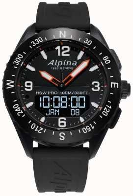 Alpina Alpinerxスマートウォッチブラックラバーストラップ AL-283LBB5AQ6