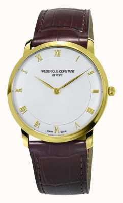 Frederique Constant メンズクォーツスリムラインゴールドメッキケース FC-200RS5S35
