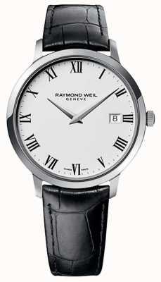 Raymond Weil メンズトッカータブラックレザーストラップホワイトダイヤル 5588-STC-00300
