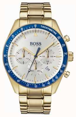 Boss メンズトロフィーウォッチホワイトクロノグラフダイヤルゴールドトーン 1513631