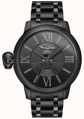 Thomas Sabo カルマブラックステンレススカル腕時計とメンズ反逆者 WA0305-202-203
