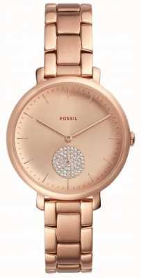 Fossil レディースジュエリーローズゴールドトーンブレスレット時計シンプルなダイヤル ES4438