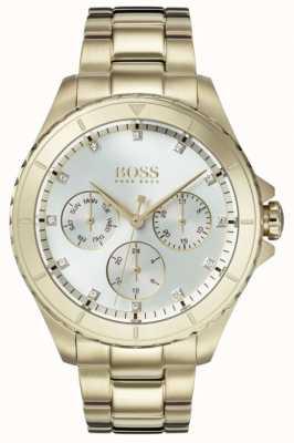 Hugo Boss レディースプレミアゴールドメッキブレスレットシルバーダイヤル 1502445