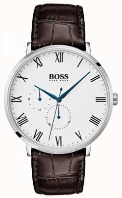 Boss メンズウィリアムクラシックブラウンレザーホワイトダイヤル 1513617
