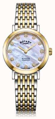 Rotary レディースウィンザーダイヤモンド日付2トーンブレスレット時計 LB05301/41/D