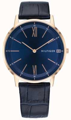 Tommy Hilfiger メンズクーパー腕時計ブルーレザーストラップローズゴールドトーンケース 1791515