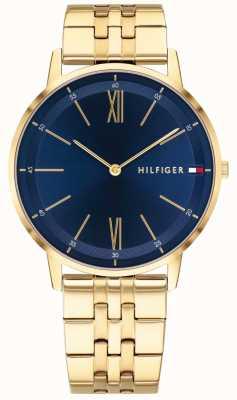 Tommy Hilfiger メンズクーパー腕時計ゴールドトーンブレスレットブルーダイヤル 1791513