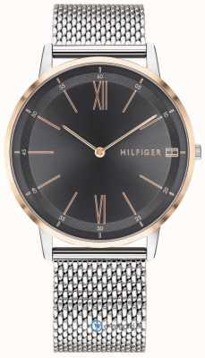 Tommy Hilfiger メンズクーパー腕時計ステンレスメッシュブレスレットブラックダイヤル 1791512