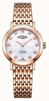 Rotary レディースウィンザーダイヤモンドローズゴールドトーンブレスレットウォッチ LB05304/41/D