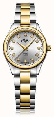 Rotary レディースオックスフォードレディースダイヤモンド2トーンブレスレットウォッチ LB05093/44/D