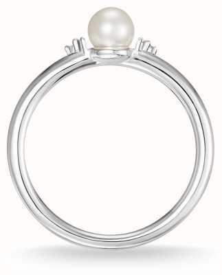Thomas Sabo スターリングシルバーパール&ホワイトダイヤモンドリングサイズ54 D_TR0039-765-14-54