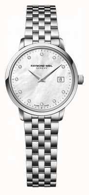 Raymond Weil 女性のフリーライターのmoherパールダイヤルダイヤモンドの腕時計 5626-ST-97081