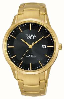 Pulsar メンズゴールドメッキソーラーデイトダイヤル PX3162X1