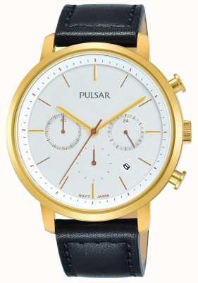 Pulsar メンズゴールドメッキケースブラックレザーストラップクロノグラフ PT3938X1
