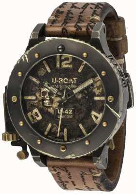 U-Boat U-42ユニコーンヴィンテージルック自動ブラウンレザーストラップ 8188