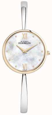 Michel Herbelin レディースローズゴールド腕時計シルバーバングル 17418/BTR19