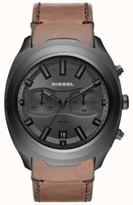 Diesel メンズタンブラーグレークロノグラフブラウンレザーストラップ DZ4491