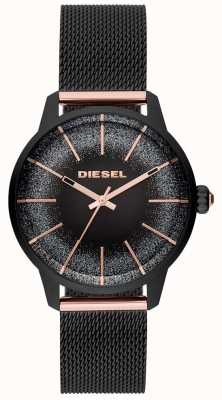 Diesel レディースカスティーリャブラック&ローズゴールド腕時計メッシュブレスレット DZ5577