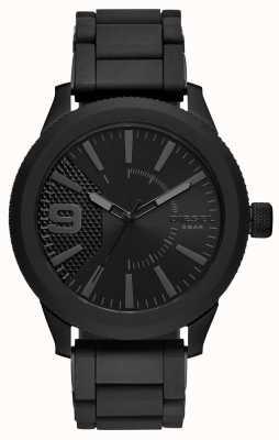 Diesel メンズオールブラックレッド腕時計メタルブレスレット DZ1873