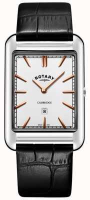 Rotary メンズケンブリッジデイトスクエアブラックレザーストラップ GS05280/02