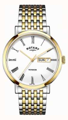 Rotary メンズウィンザーツートーンシルバー&ゴールドウォッチ GB05302/01