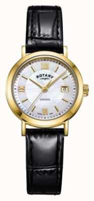 Rotary レディースウィンザーマザーオブパールダイヤルブラックレザーストラップ LS05303/41