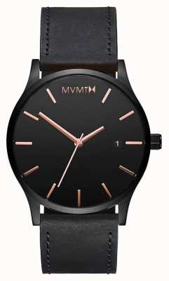 MVMT クラシックブラックローズレザー|黒ストラップ|黒文字盤 D-MM01-BBRGL