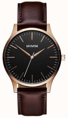 MVMT 40シリーズローズゴールドブラウン|ブラウンストラップ|黒文字盤 D-MT01-BLBR