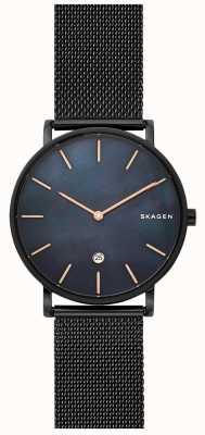 Skagen メンズハーゲン腕時計ブラックスチールメッシュブルーダイヤル SKW6472