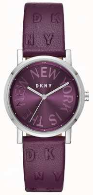 DKNY レディースソーホー紫の革の紫色のダイヤルウォッチ NY2762